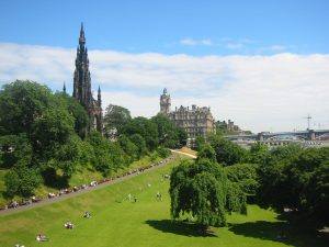Princes Street Gardens Scott Monument Balmoral Hotel North Bridge Edinburgh park New Town Old Town World Heritage Site