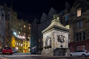 West Bow Well Grassmarket Night Edinburgh