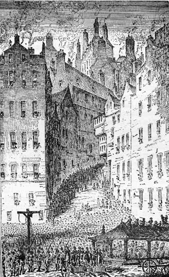 Grassmarket West Bow Engraving Edinburgh World Heritage Site