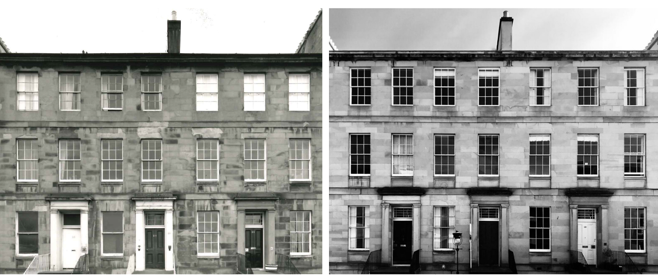 20-22 Fettes Row in 1970, and today